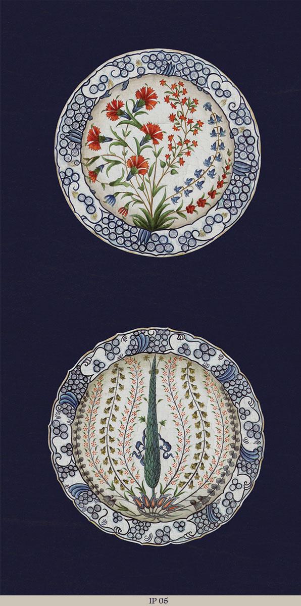 Английские обои Iksel,  коллекция Scenic & Architectural Wallpapers, артикулIznikPlatesIP05