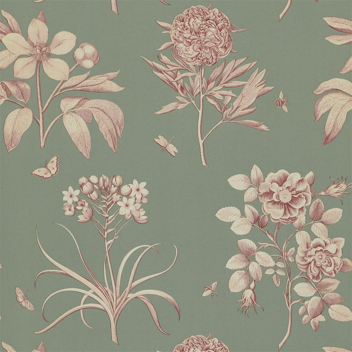 Английские обои Sanderson,  коллекция Parchment Flowers, артикулDPFWER105