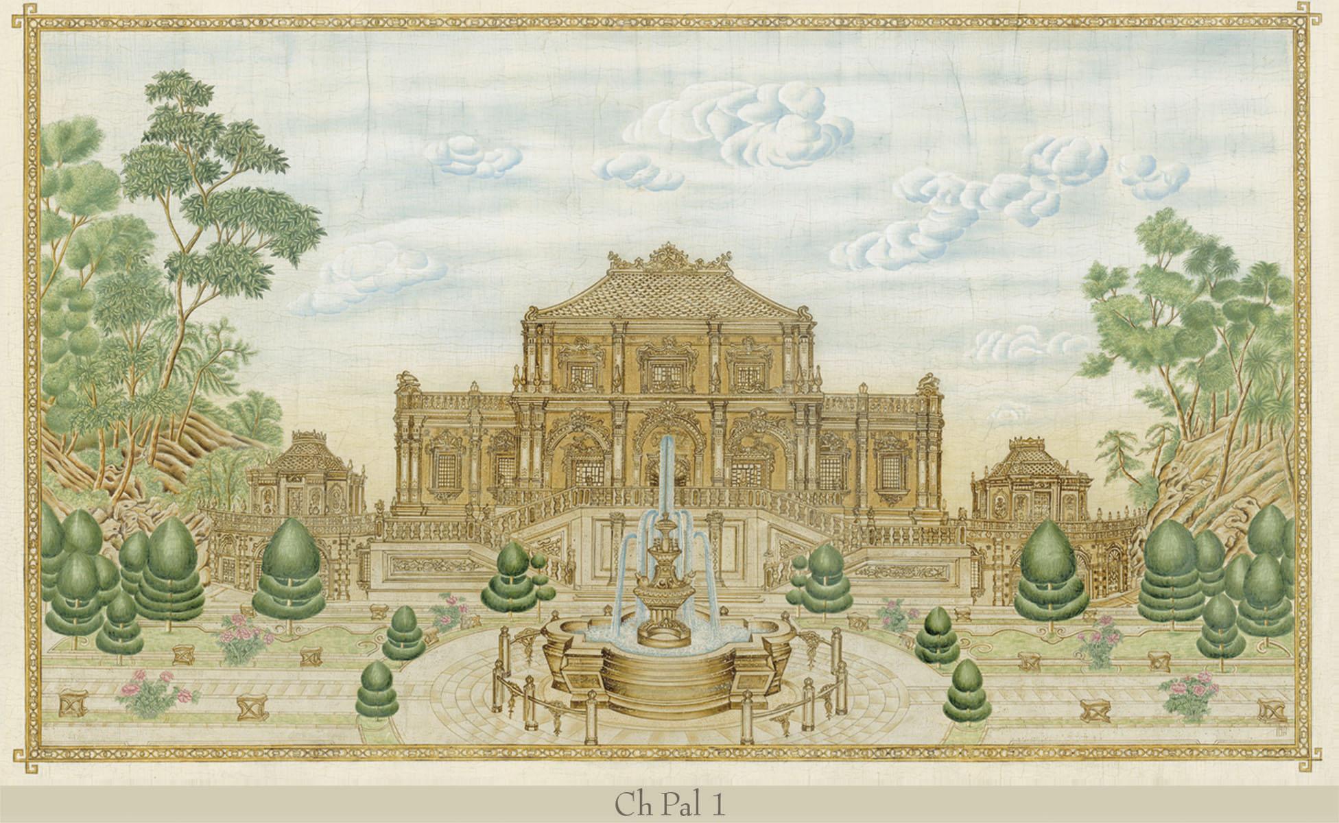 Английские обои Iksel,  коллекция Scenic & Architectural Wallpapers, артикулChinesePalacesCHPAL1