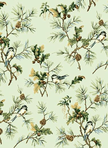 Американские обои Jaima Brown,  коллекция Retreat, артикулChickadee-Spring-Green