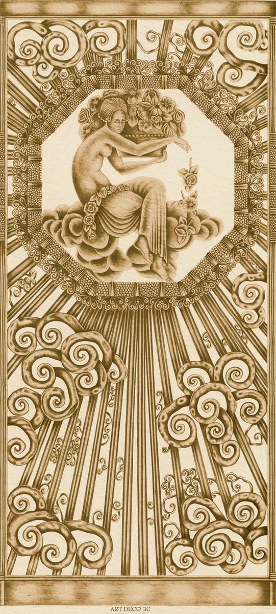 Английские обои Iksel,  коллекция Scenic & Architectural Wallpapers, артикулArtDecoCloudsARTDECO3C