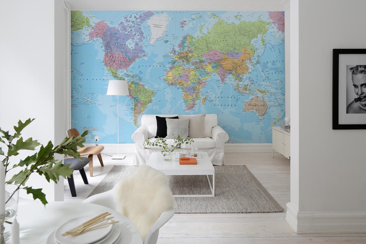 Подробная карта мира фотообои потрепанный зелёный